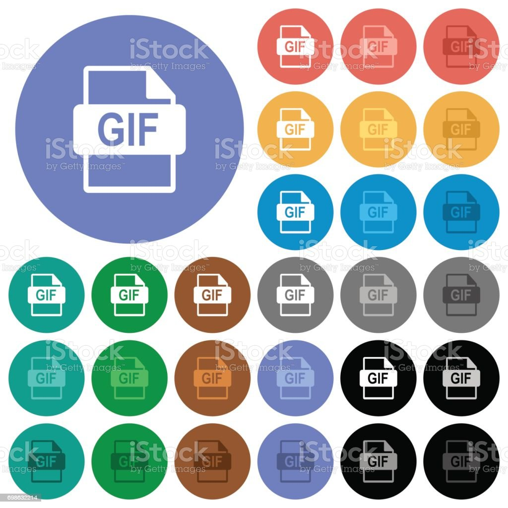 GIF file format round flat multi colored icons vector art illustration