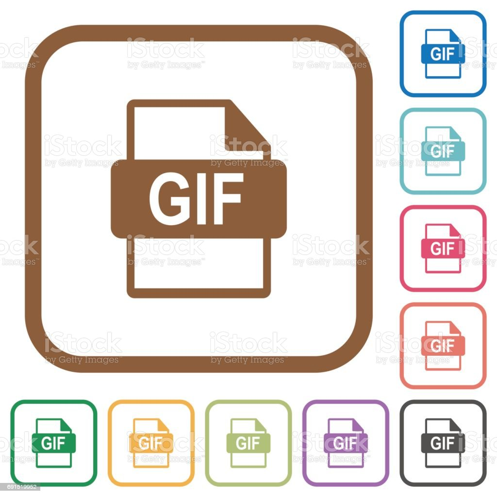 GIF file format simple icons vector art illustration