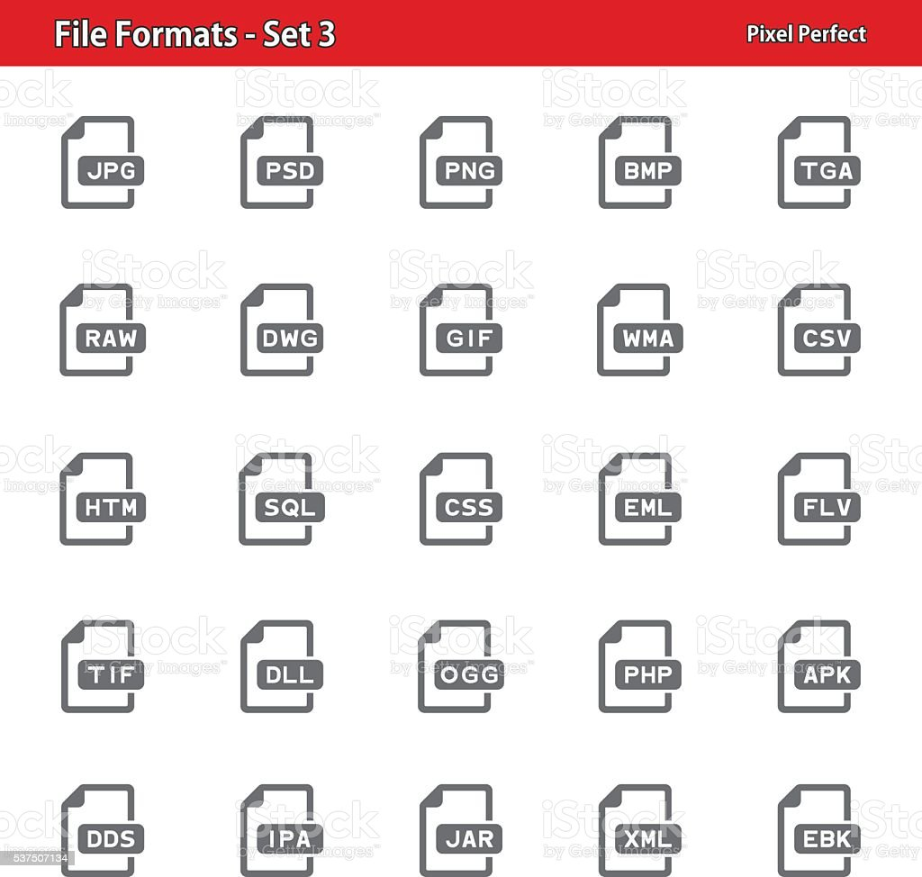 File Formats Icons - Set 3 vector art illustration