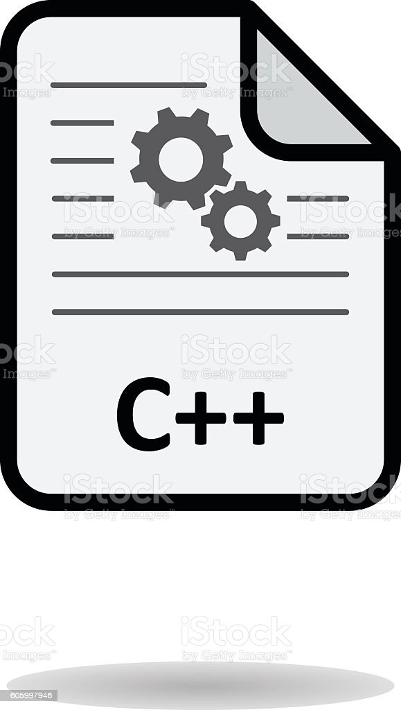 C++ file on white background vector vector art illustration