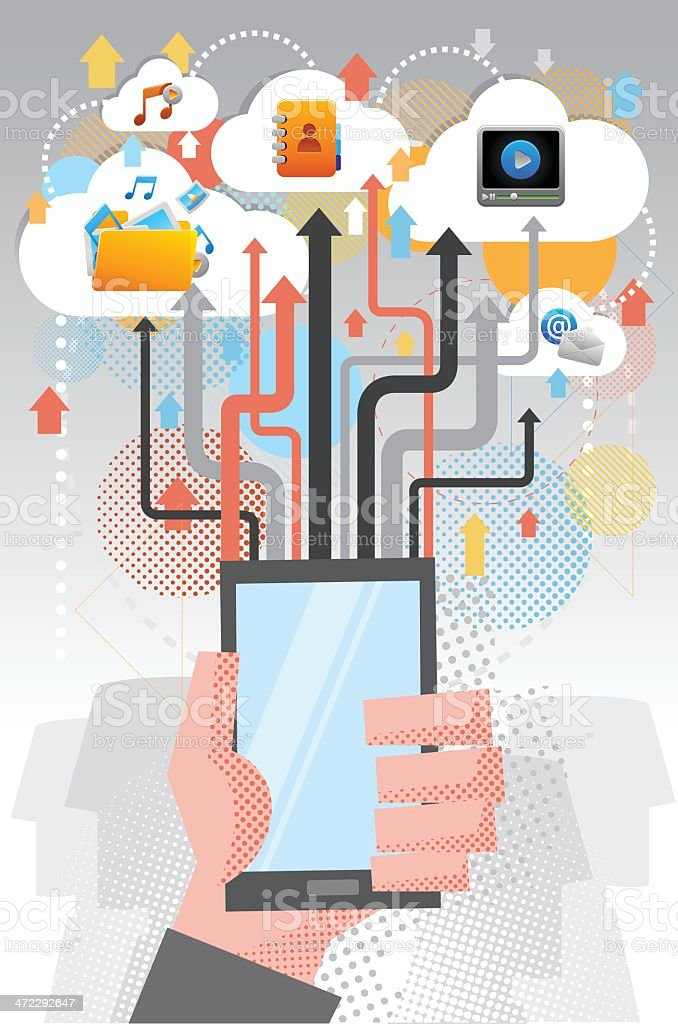 File transfer by cloud computing vector art illustration