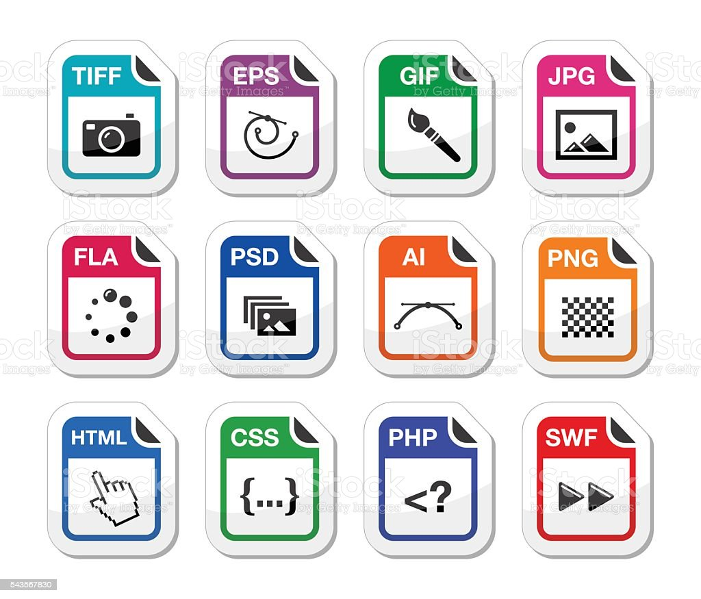 File type black icons as labels - graphics, coding vector art illustration