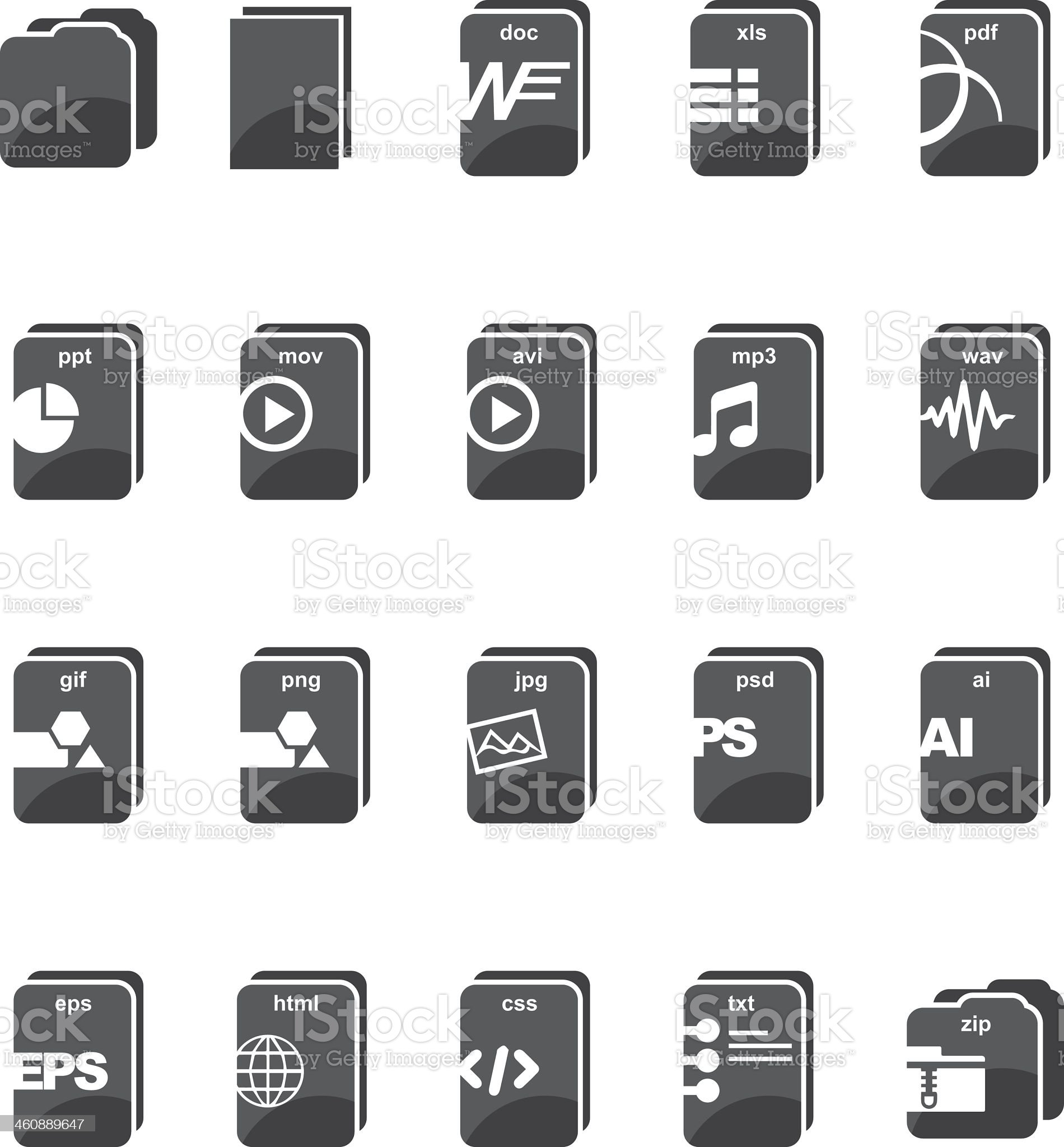 File type computer Silhouette icons royalty-free stock vector art