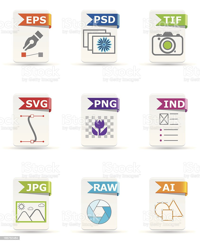 File type icon set: Design and Photography vector art illustration