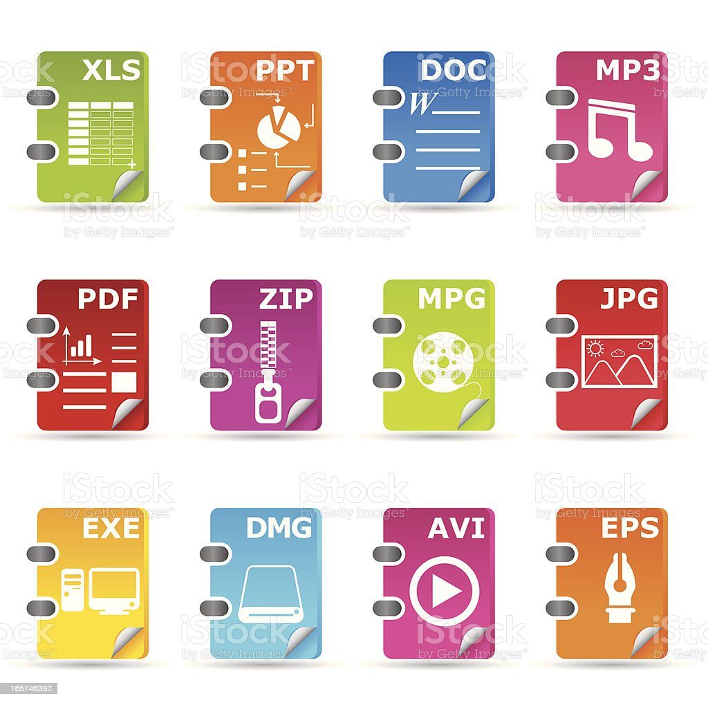 File type icon set: General royalty-free stock vector art