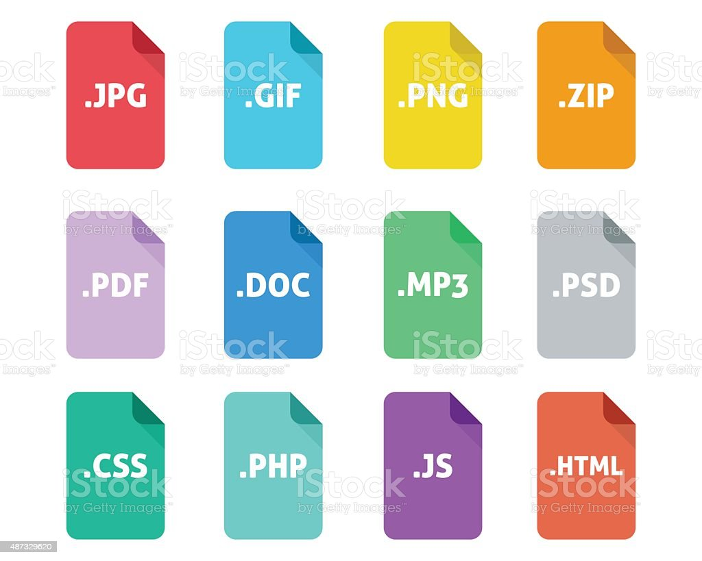 File Type Icon Set vector art illustration