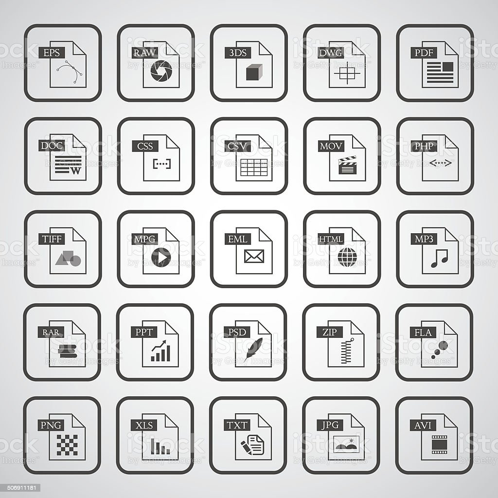 File type icon set vector art illustration