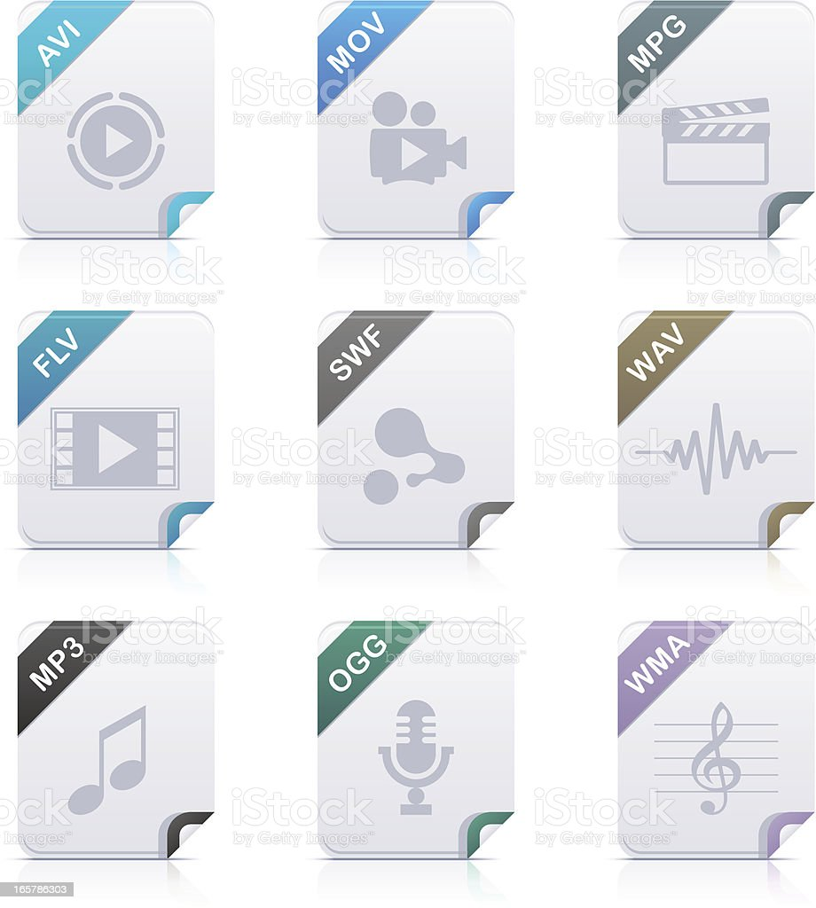 File type icons: Audio & Video vector art illustration