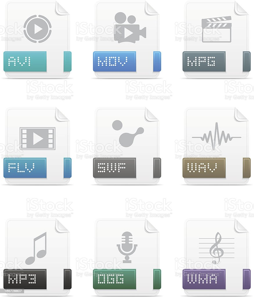 File type icons: Media pack vector art illustration