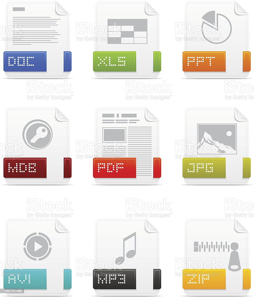 File type icons: Office pack royalty-free stock vector art