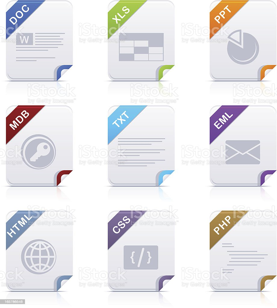 File type icons: Office & Web vector art illustration