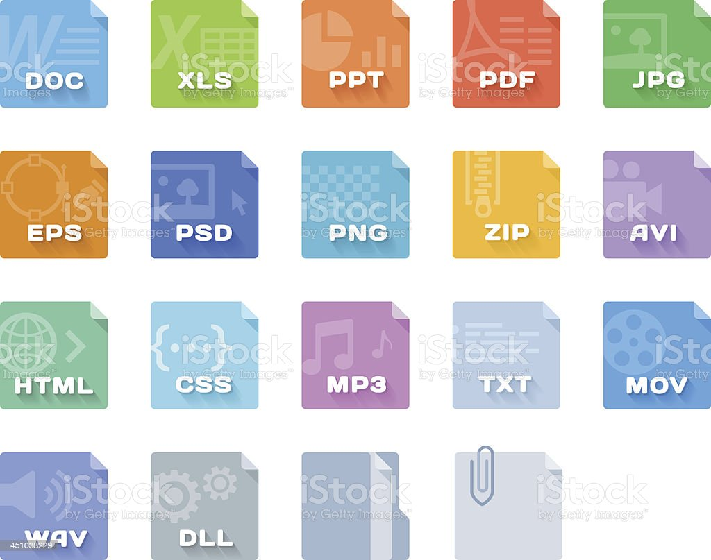File Type Icons royalty-free stock vector art