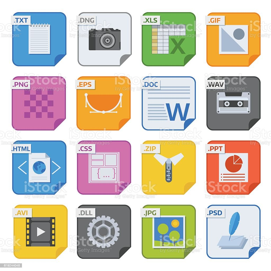 File type icons vector set. vector art illustration