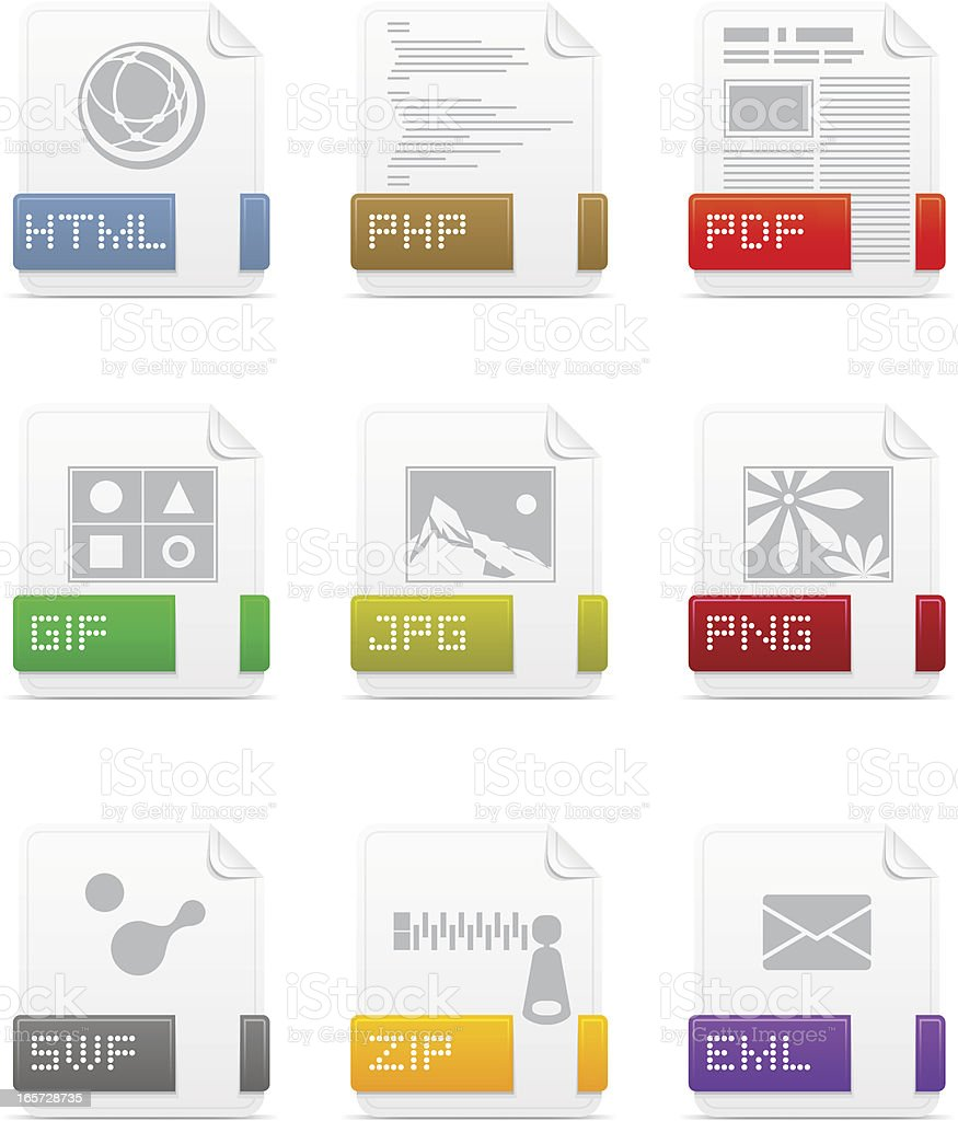 File type icons: Web pack vector art illustration