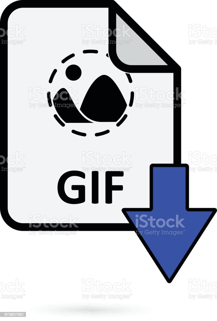 GIF file with blue arrow download button on white background vector vector art illustration
