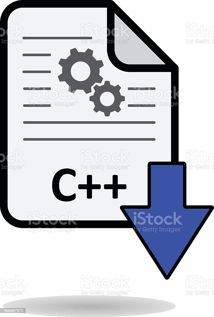 C++ file with blue arrow download button vector art illustration