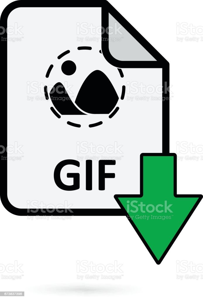 GIF file with green arrow download button on white background vector vector art illustration