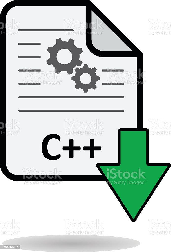C++ file with green arrow download button vector art illustration