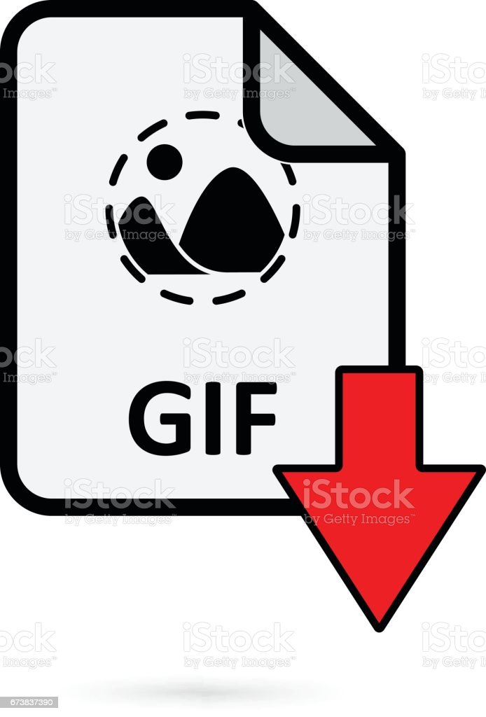 GIF file with red arrow download button on white background vector vector art illustration