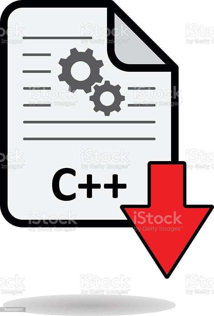 C++ file with red arrow download button vector art illustration
