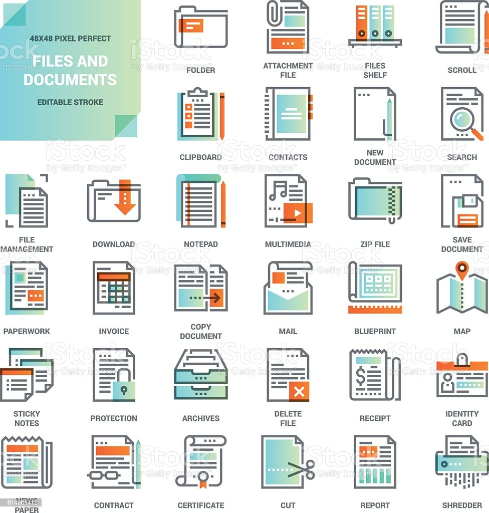 Files and documents flat line icons vector art illustration