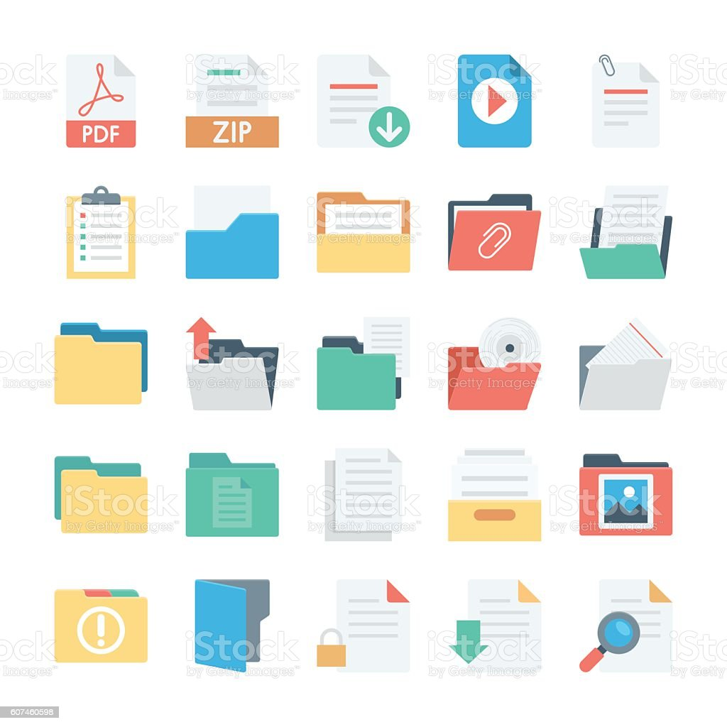 Files and Folders Vector Icons 3 vector art illustration