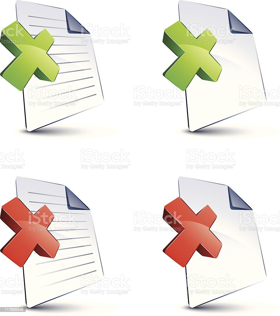 Files and X marks royalty-free stock vector art