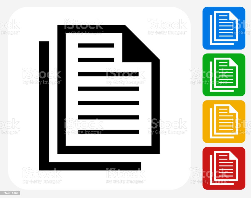 Files Icon Flat Graphic Design vector art illustration