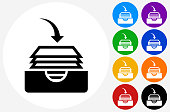 Files Icon on Flat Color Circle Buttons