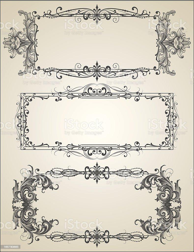 Filigree Engraved Frames vector art illustration