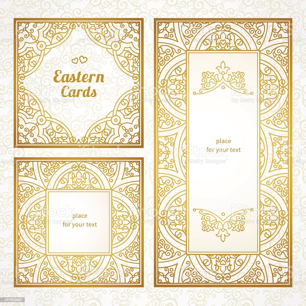 Filigree vector frames in gold and cream in an eastern style vector art illustration