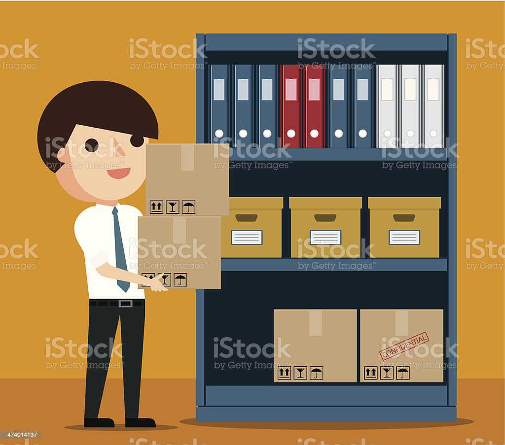 Filing Documents vector art illustration