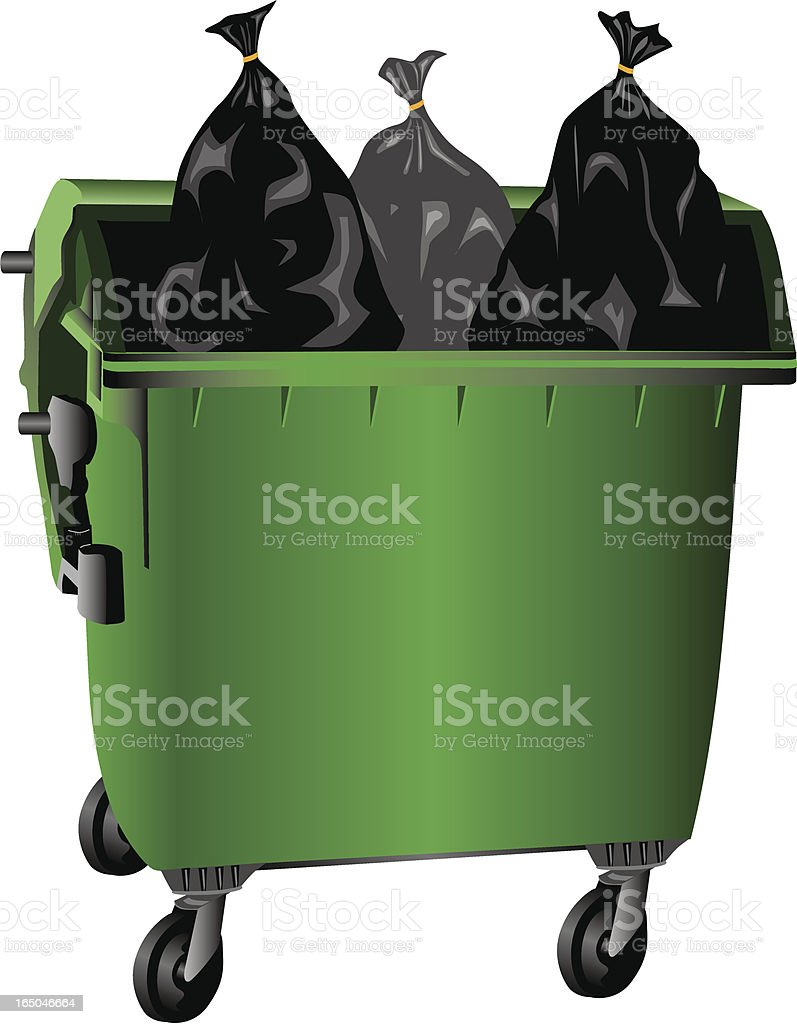 Filled Garbage Container (Vector) royalty-free stock vector art