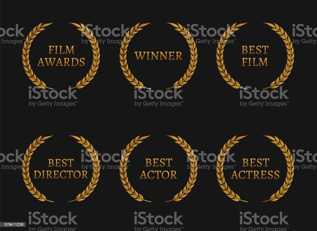 Film academy awards winners and best nominee gold wreaths vector art illustration