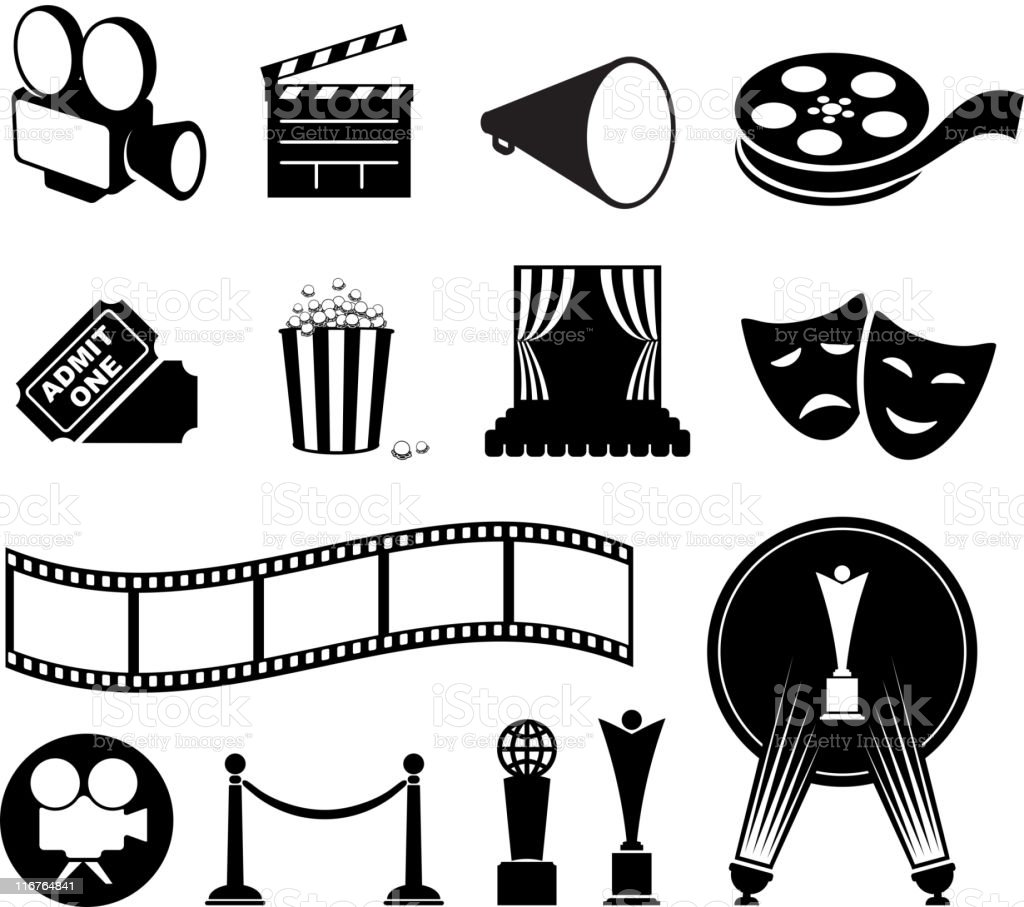 film and movies black & white vector icon set vector art illustration