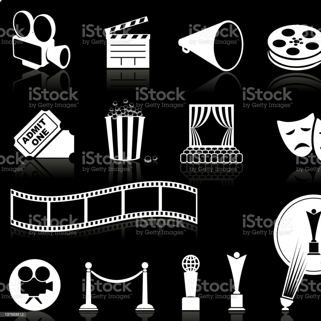 film and movies knockout white royalty free vector icon set stock photo