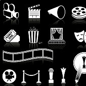 film and movies knockout white royalty free vector icon set