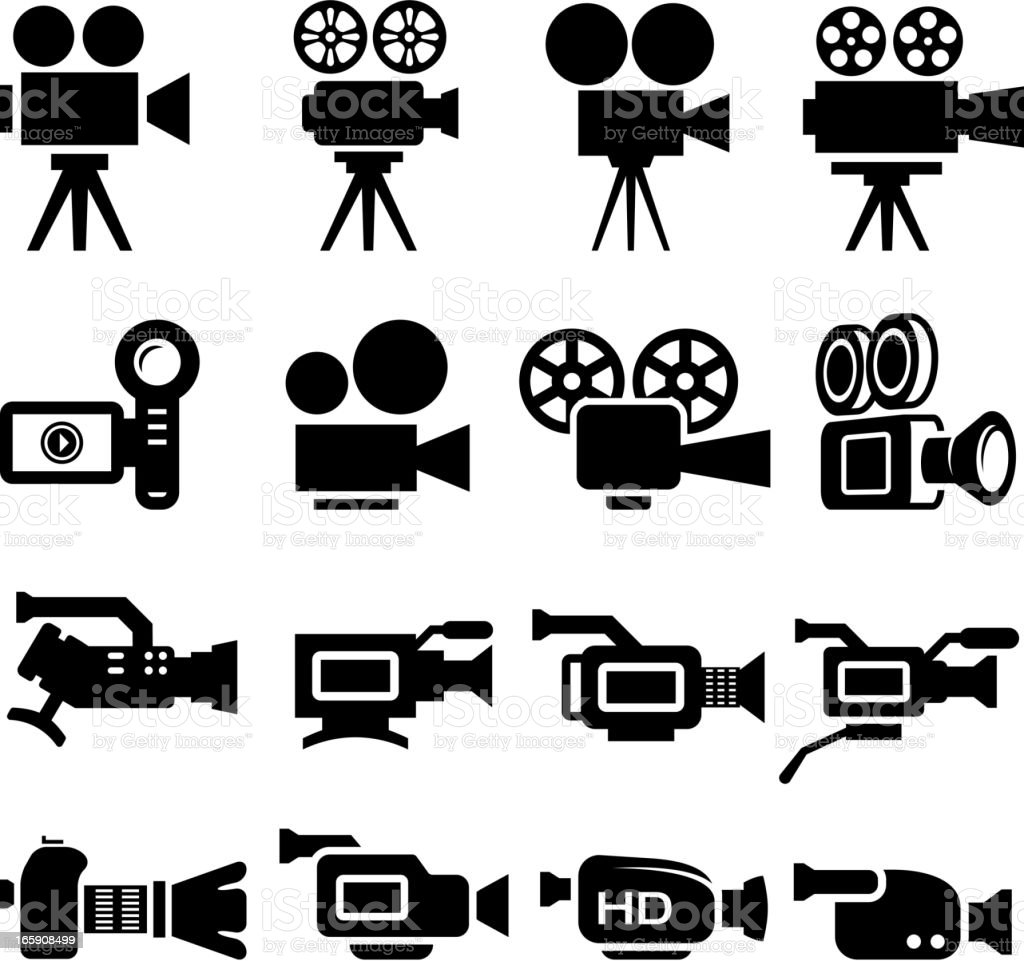 Film Camera Old and New black & white icon set vector art illustration