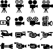 Film Camera Old and New black & white icon set