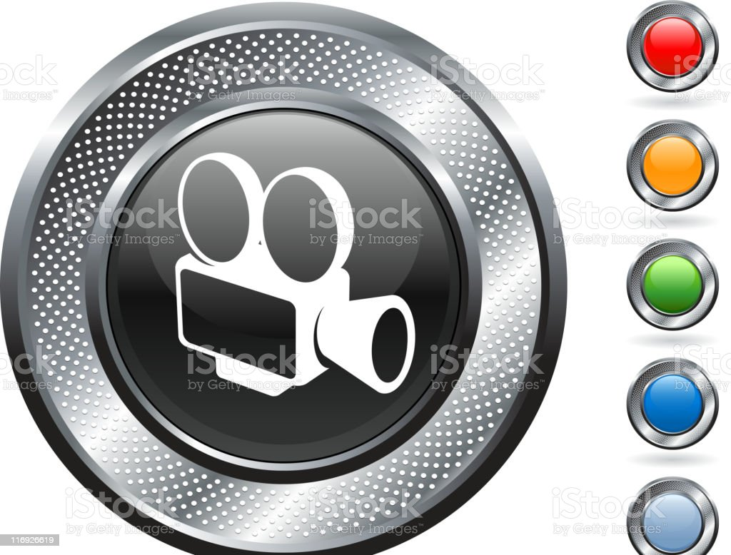 film camera royalty free vector art on metallic button royalty-free stock vector art