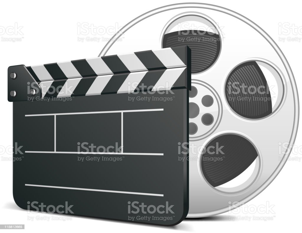Film clap board and video tape royalty-free stock vector art