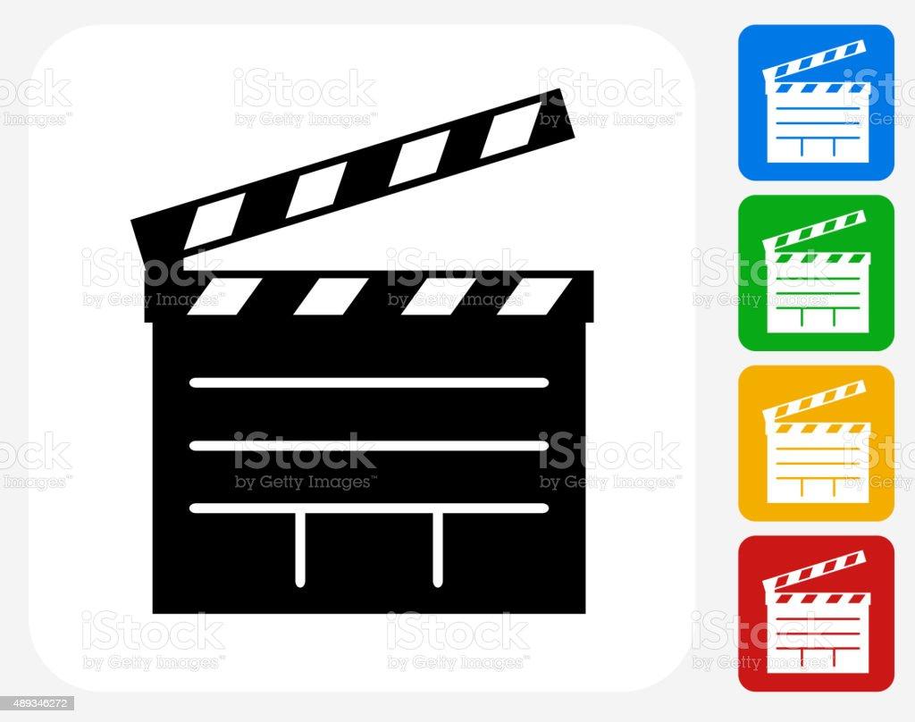 Film Clapper Board Icon Flat Graphic Design vector art illustration