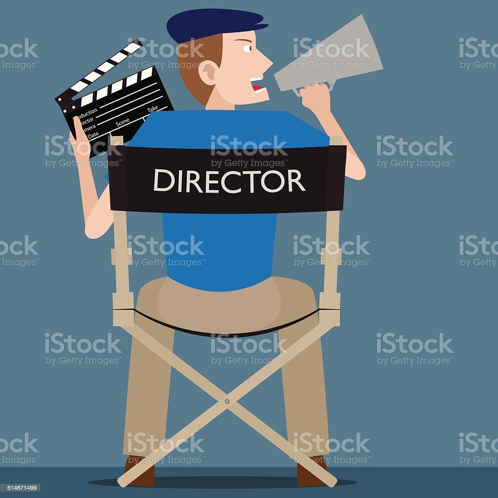Film Director vector art illustration