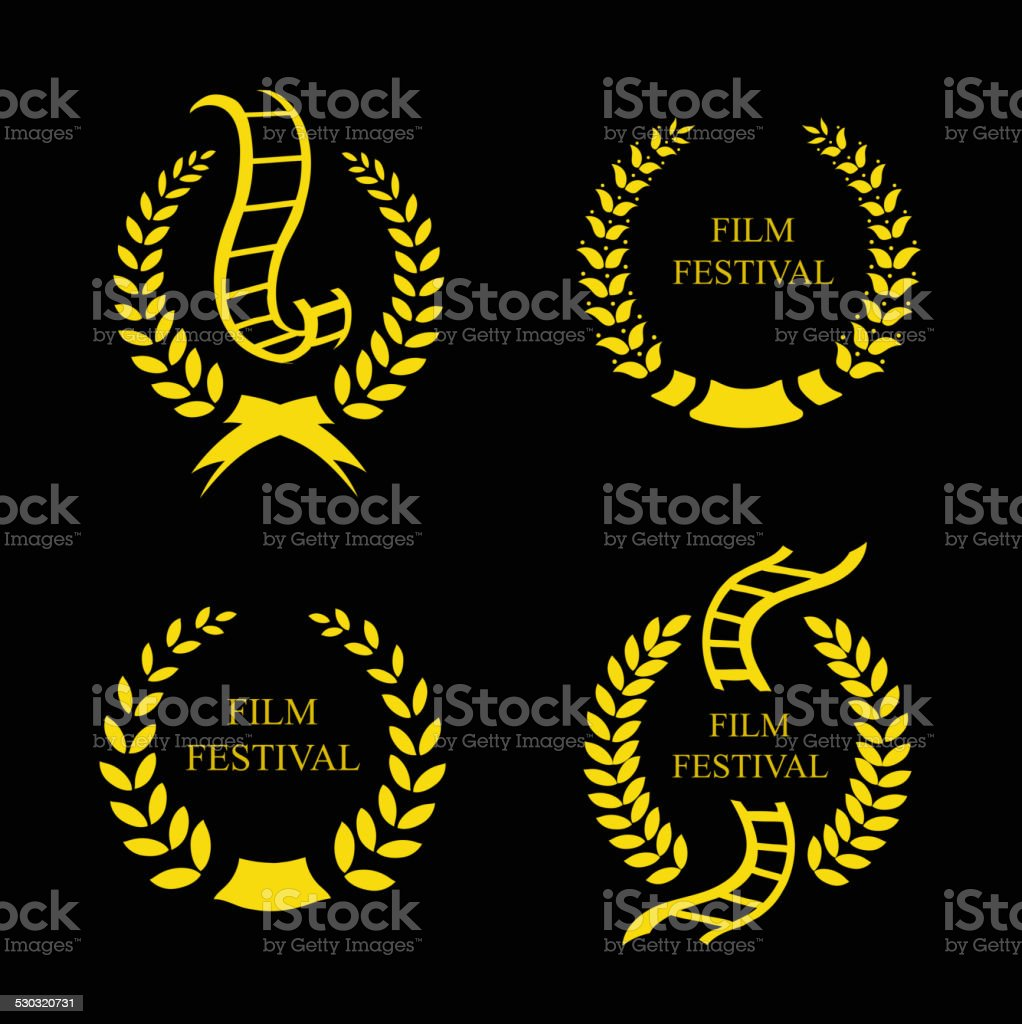 Film Festival Gold Award Set vector art illustration