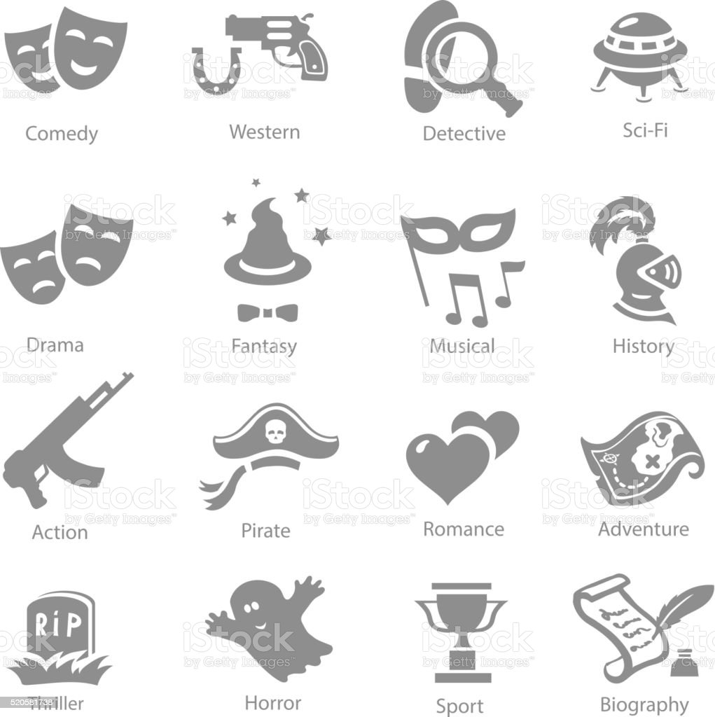 Film genres icons set  history western comedy sci-fi symbols vector art illustration