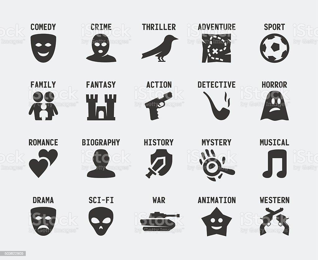 Film genres vector icon set vector art illustration