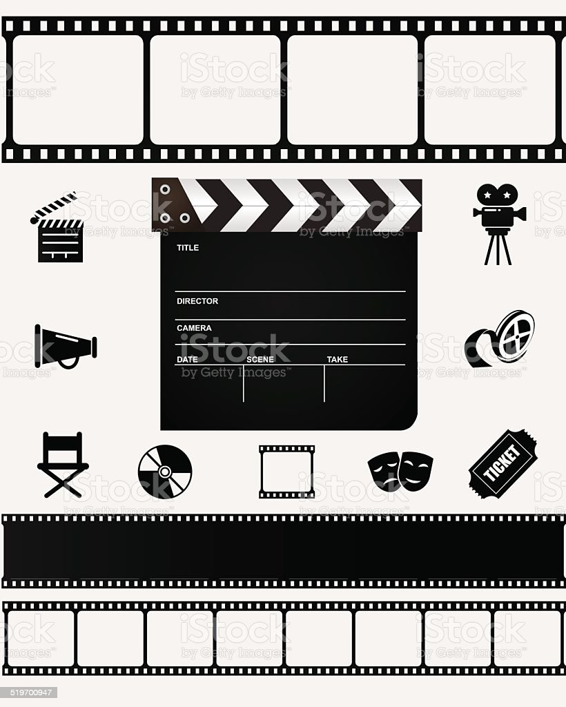 Film icons and elements. vector art illustration