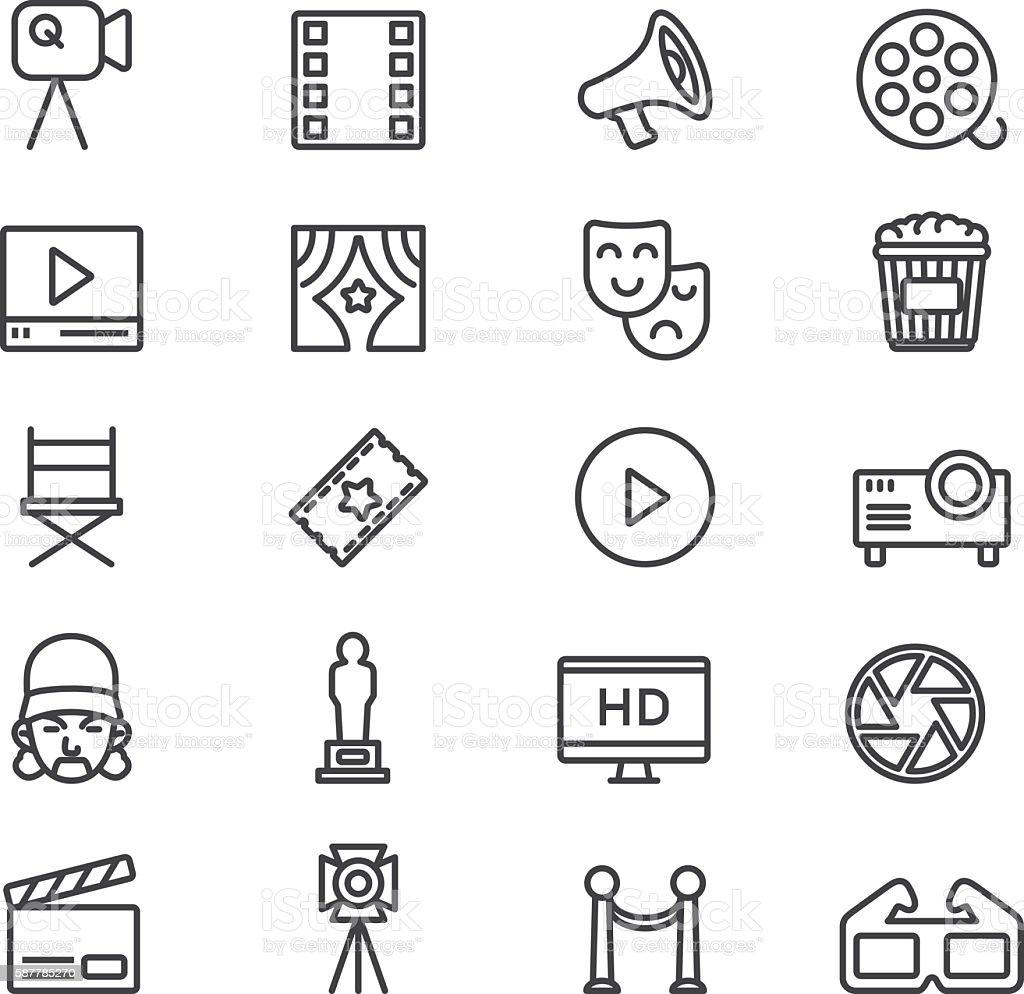 Film Industry Cinema Theatre Line icons | EPS10 vector art illustration