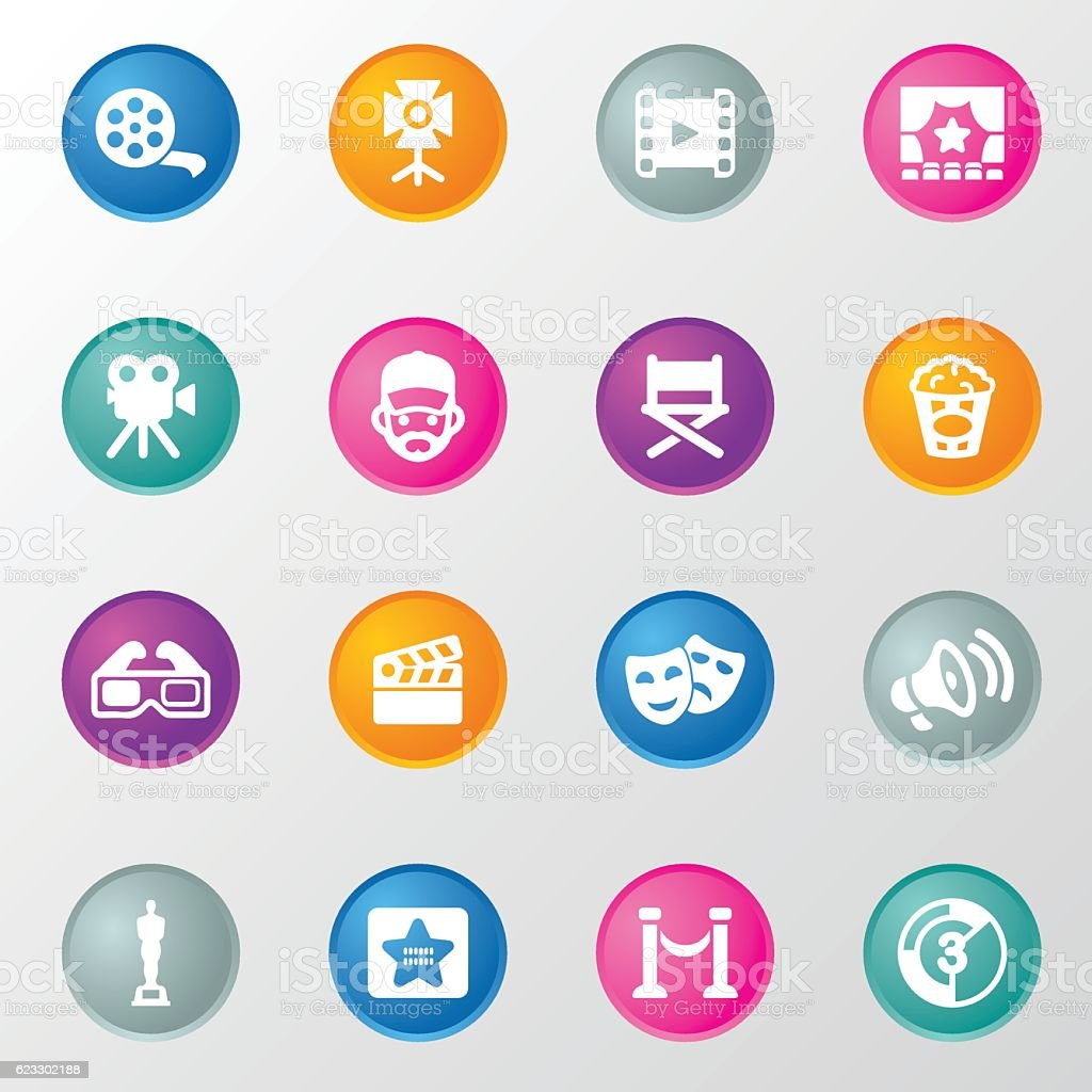 Film industry Circle Color Icons vector art illustration