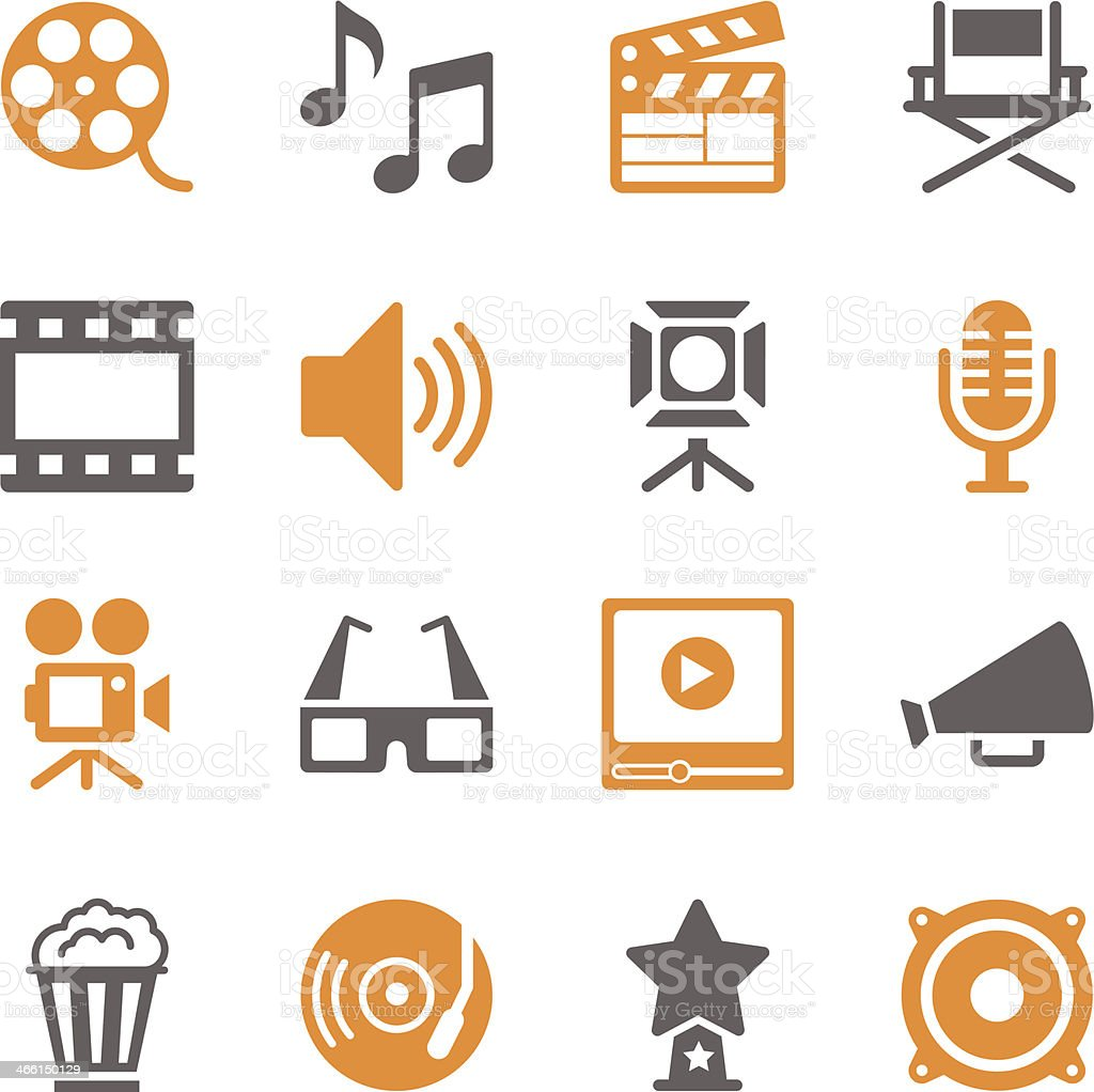 Film Industry Icons | Color Series vector art illustration